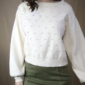 Zara Oversized Cotton Sweater Pearls White Sleeve